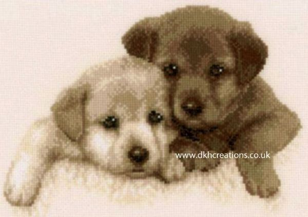 Labrador Dog Puppies  Sepia Cross Stitch Kit